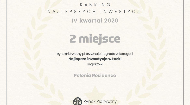 2 miejsce w rankingu Najlepszych Inwestycji w Łodzi IV kwartał 2020